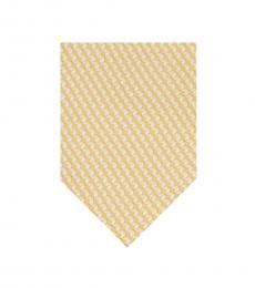 Michael Kors Yellow-White Geometric Cube Silk Tie