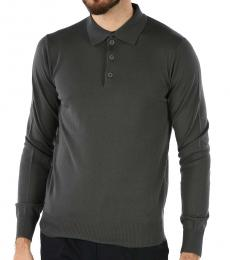 Emporio Armani Dark Grey Wool Long Sleeve Polo
