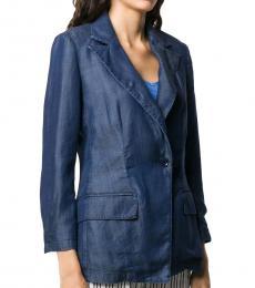 Denim Blue  Single-Breasted Denim Blazer