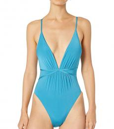 Blue Plunge One-Piece Swimsuit