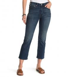 Blue Cropped Mini Bootcut Jeans