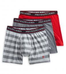 Grey Red 3-Pack Classic-Fit Boxer Briefs