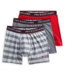 Ralph Lauren Grey Red 3-Pack Classic-Fit Boxer Briefs