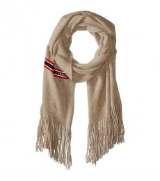 Calvin Klein Heathered Almond Racer Stripe Scarf