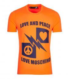 Love Moschino Orange Graphic Logo T-Shirt