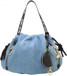 See by Chloe Blue Drawstring Large Tote