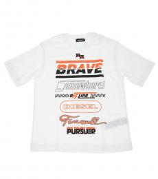 Boys White Crewneck T-Shirt