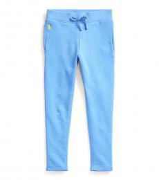 Ralph Lauren Little Girls Blue Cotton-Blend-Terry Leggings
