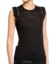 Michael Kors Black Zip-Shoulder Slub Sweater Top