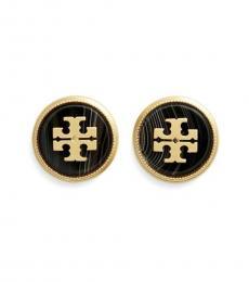 Tory Burch Gold Black Agate Stud Earrings