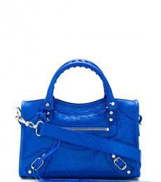 Balenciaga Metallic Blue City Mini Satchel