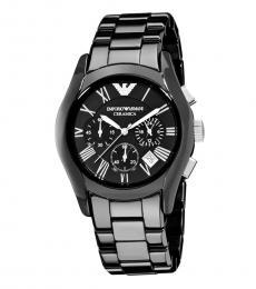 Emporio Armani Black Chronograph Logo Watch