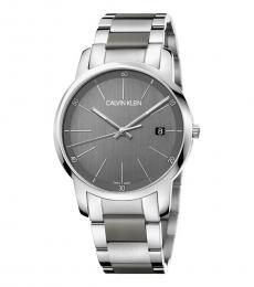 Calvin Klein Silver Grey Dial Logo Watch