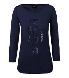 Armani Jeans Dark Blue Scoop Neck Logo Tee