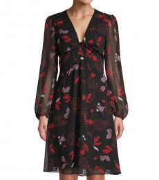 Diane Von Furstenberg Black Multi Chiffon Long-Sleeve Flare Dress