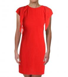 Ralph Lauren Red Cascade Ruffle Sheer Shift Dress