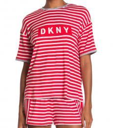 DKNY Red Logo Print 2-Piece Set