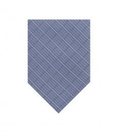 DKNY Blue Open Block Grid Slim Tie