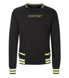 Philipp Plein Black Front Logo Sweatshirt