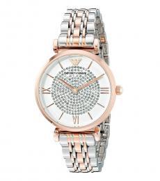 Emporio Armani Silver Two-Tone Crystal Watch