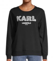 Karl Lagerfeld Black White Logo Sparkle Sweatshirt