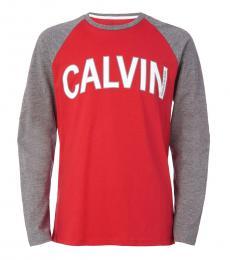 Calvin Klein Little Girls Racing Red Arch Logo T-Shirt