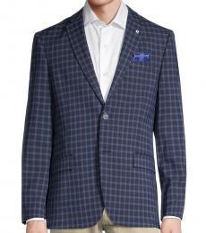 Ben Sherman Navy Blue Stretch-Fit Check Sportcoat