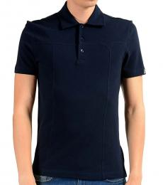 Versace Collection Navy Blue Stretch Short Sleeve Polo