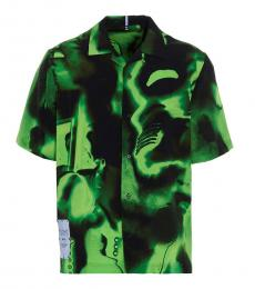 McQ Alexander McQueen Bottle Green Silk Rave Short Sleeve Shirt