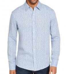 Michael Kors Blue Slim-Fit Allover MK Linen Shirt