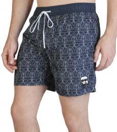 Karl Lagerfeld Dark Blue Allover Logo Swimwear