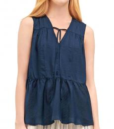 DKNY Petrol Blue Ruched Panel Top