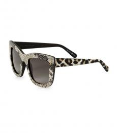 White Grey Animal-Print Sunglasses