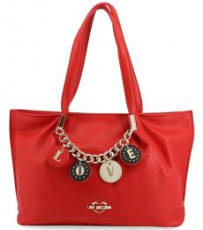 Love Moschino Red Love Charm Large Tote