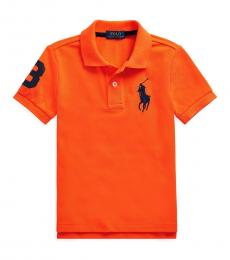 Little Boys Signal Orange Mesh Polo