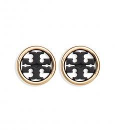 Tory Burch Black-Gold Logo Miller Circle Stud Earrings