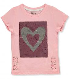 DKNY Little Girls Pink Flip Sequin Box Lace Seam Top