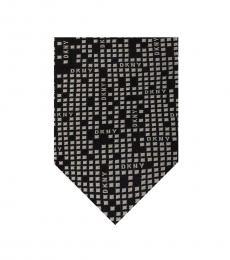 DKNY Black Geometric Logo Panel Slim Tie