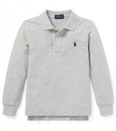 Ralph Lauren Little Boys Light Grey Long Sleeve Polo
