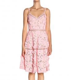 Light Pink Floral Applique Lace Dress