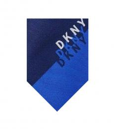 DKNY Navy Blue Shadow Logo Skinny Tie