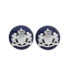 Ralph Lauren Navy Crest Stud Earrings