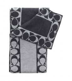 Coach Black Grey Signature Skinny Scarf