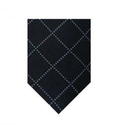 DKNY Black Desaturated Check Grid Skinny Tie
