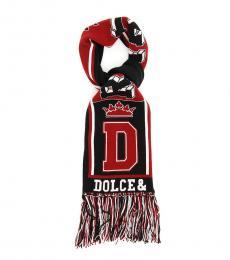 Dolce & Gabbana Red-Black Royal Love Scarf