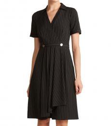 DKNY Black Stripe Short Sleeve Dress