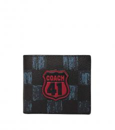 Coach Black-Navy 3 IN 1 Graphic Checker Print Wallet