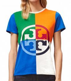 Tory Burch Multi color Color-Block Logo T-Shirt