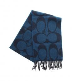 Coach Blue Signature Twill Scarf