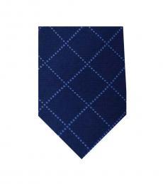 DKNY Navy Blue Desaturated Check Plaid Skinny Tie